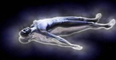Man lying with blue glow around him