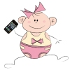 Cartoon baby with iPhone